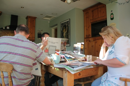 around the kitchen table with the Sunday papers