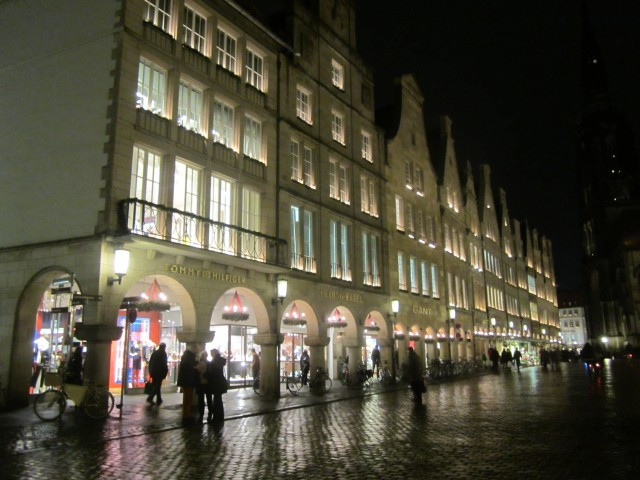 the facades of the merchants stores, rebuilt after the bombing