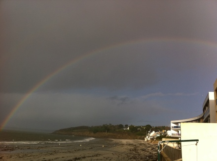 rainbow of hope inbetween the storms on Sable Blanc